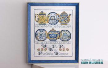 Delfts blauw borduurwerk inlijsten